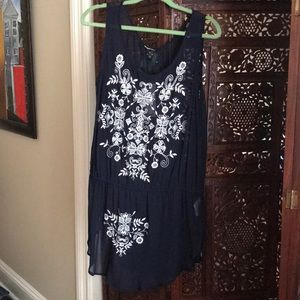 Navy blue embroidered top. Semi sheer, stunning, M